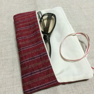 メガネケース 手作り ハンドメイド 簡単 キルト芯 遠州綿紬 和布 和風 縞 ストライプ