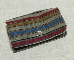 コインパース 小銭入れ お札 ミニ財布 手作り ハンドメイド 遠州綿紬 遠州縞 和