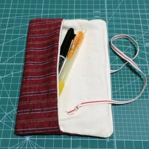 ペンケース 筆入れ 手作り 和風 和布 遠州綿紬 ハンドメイド 縞