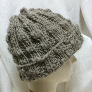 帽子 手編み 輪編み 輪針 棒針編み 二目ゴム編み ハマナカ スラブ