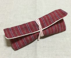 ペンケース ハンドメイド 手作り ポーチ メガネケース 和風 縞 遠州綿紬